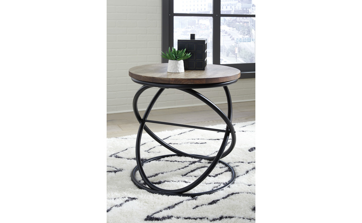 T644-6 CHARLIBURI ROUND END TABLE CHARLIBURI BROWN/BLACK