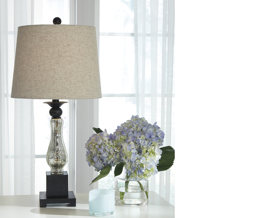 L431384 STEPHAN GLASS TABLE LAMP (2/CN) STEPHAN BLACK/SILVER FINISH