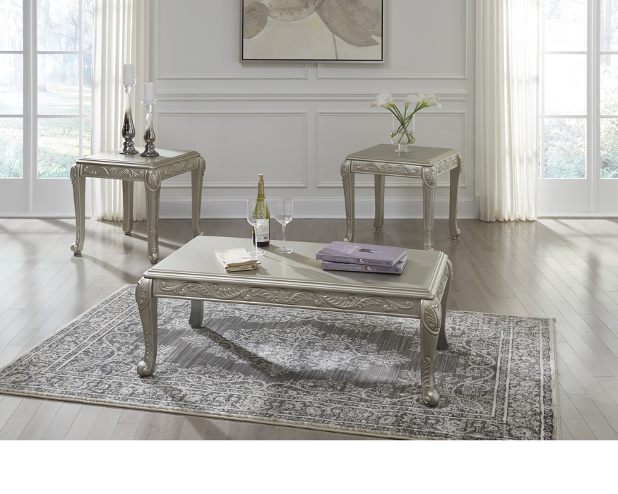 T340-13 VERICKAM OCCASIONAL TABLE SET (3/CN) VERICKAM SILVER FINISH