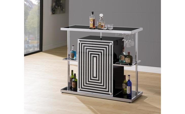 130076  CONTEMPORARY GLOSSY BLACK BAR UNIT