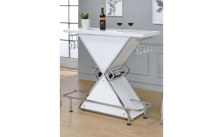 130078  CONTEMPORARY WHITE STACKED TRIANGLE BAR UNIT