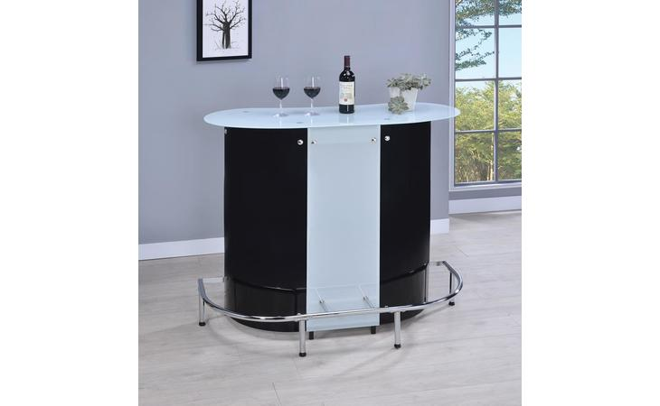 100654  CONTEMPORARY BLACK AND CHROME BAR UNIT WITH FROSTED GLASS TOP