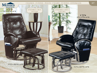 Black Leather-look / Swivel Rocker Recliner With Ottoman   Pg117