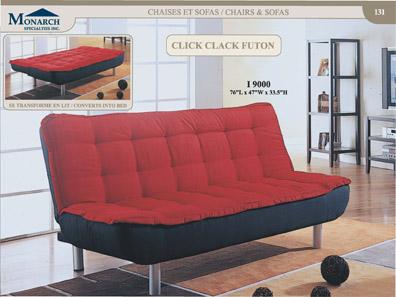Red Micro-fibre / Black Click Clack Futon