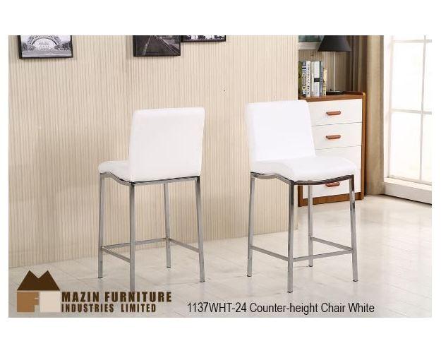 24IN BARSTOOL WHITE PU/CHROME