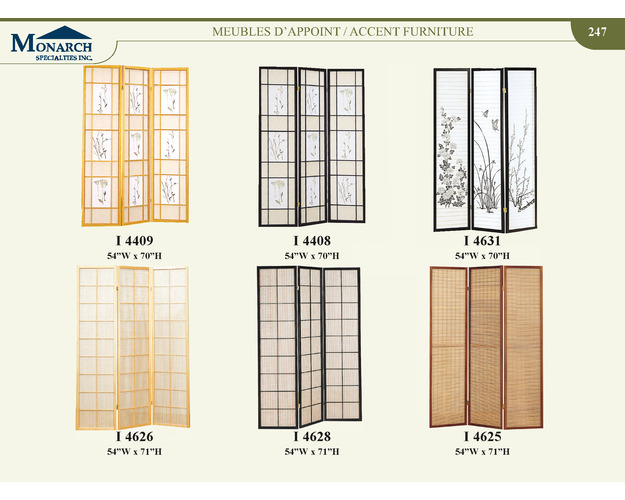 Natural 3 Panel Screen With Floral Print   Pg247