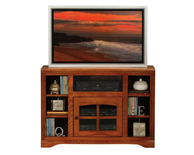 45 Entertainment Console With Bookcase Sides, 1 Plain Glass Door, 5 Fixed Wood Shelves, Decorative Molding, Plain Base*glass*pl*finsish*cc, Dk, Lt, Md, So, Un, Cr, Cm