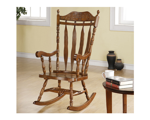 ROCKING CHAIR - 45H / DARK WALNUT SOLID WOOD