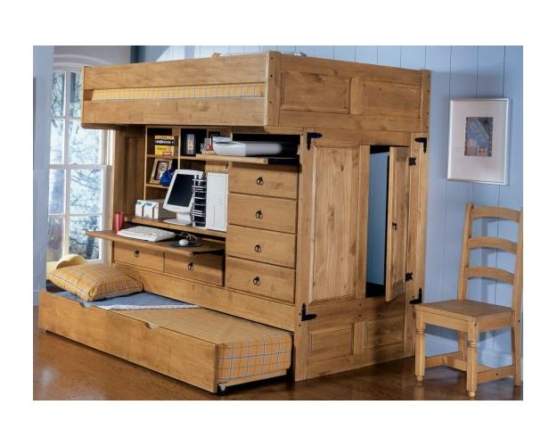 Ranch Chest End Step Twin/twin Bunk Bed - 4-drawer Cabinet & Hardware (carton 4)