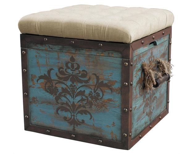 TUFTED BLUE CRATE STORAGE OTTOMAN ITEMS - DROP SHIP