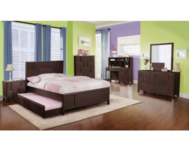 YOUTH PANEL BED TRUNDLE MERLOT