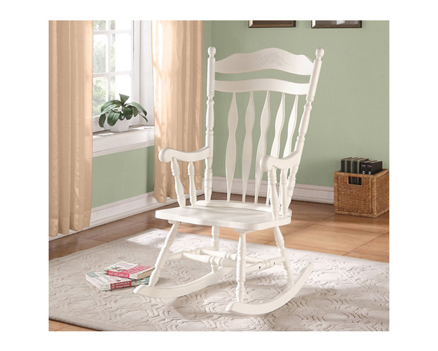 ROCKING CHAIR - 44H / ANTIQUE WHITE SOLID WOOD