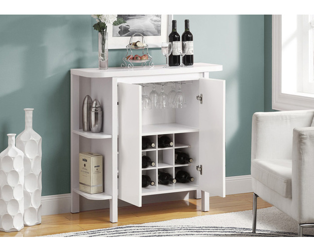 HOME BAR - 36H / WHITE WITH BOTTLE AND GLASS STORAGE