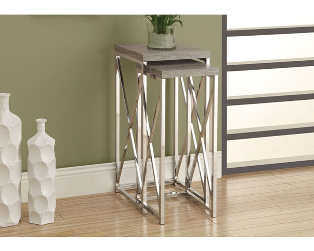 ACCENT TABLE - 2PCS SET / DARK TAUPE WITH CHROME METAL
