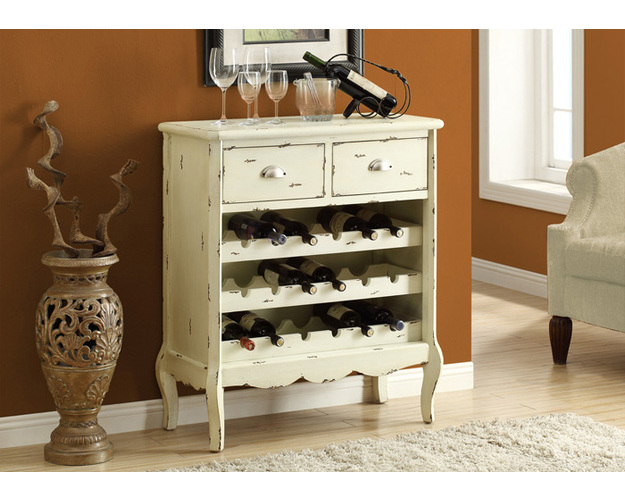 WINE RACK - 37H / ANTIQUE WHITE VENEER TRADITIONAL STYLE