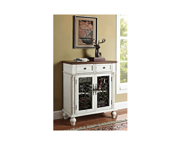 SHAB WHITE, 2 DRAWER, 2 DOOR CONSOLE