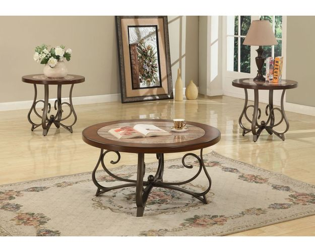 1 COFFEE TABLE & 2 END TABLES, FINISH: CHERRY