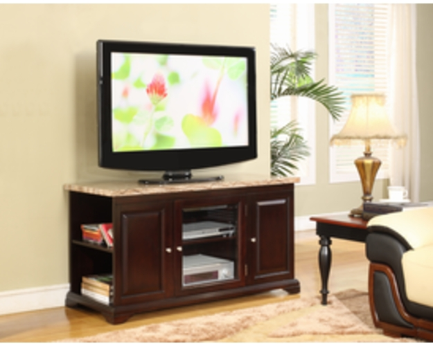 TV STAND BEIGE FAUX MARBEL