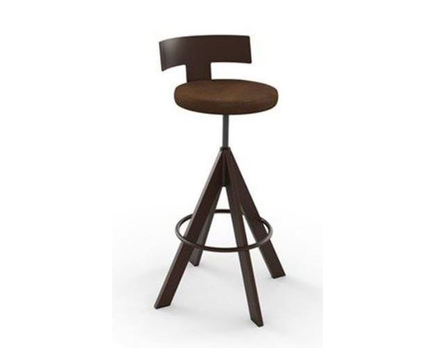 UPLIFT SCREW STOOL  (DISTRESSED SOLID WOOD SEAT   AND METAL BACKREST)
