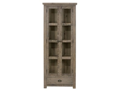 DISPLAY CUPBOARD W/TWO TEMPERED GLASS DOORS, DRAWER - ASSEMBLED
