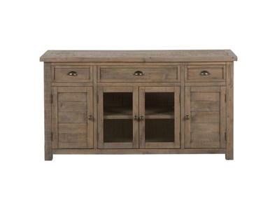 60 RECLAIMED PINE MEDIA UNIT W/ 3 DRAWERS, 2 WOOD DOORS AND CTR GLASS DOOR