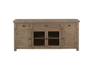 70 RECLAIMED PINE MEDIA UNIT W/ 3 DRAWERS, 2 WOOD DOORS AND CTR GLASS DOOR