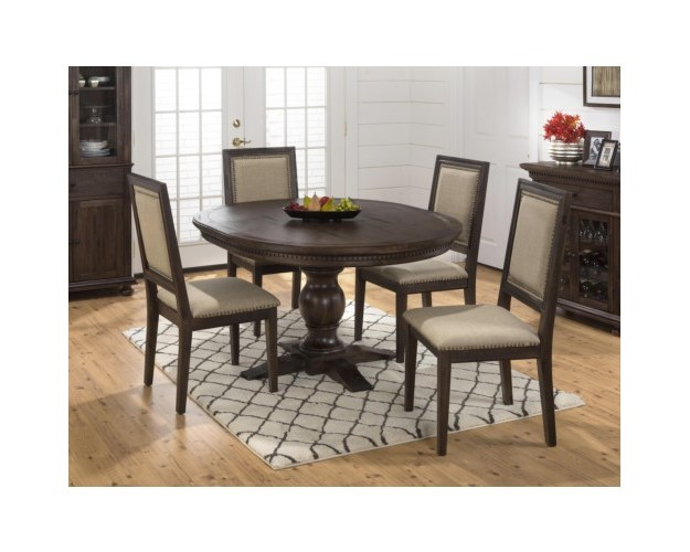 Wire Brushed Round To Oval Dining Table W/ Take Out Leaf And Dentil Moulding - DINING TABLE PEDESTAL BASE