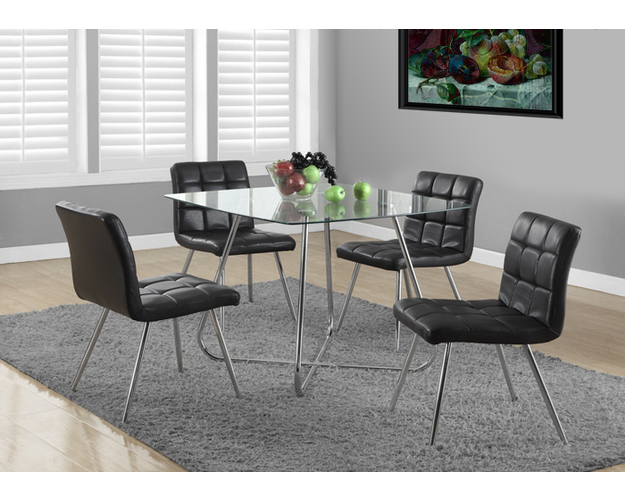 DINING CHAIR - 2PCS / 32H / BLACK LEATHER-LOOK / CHROME