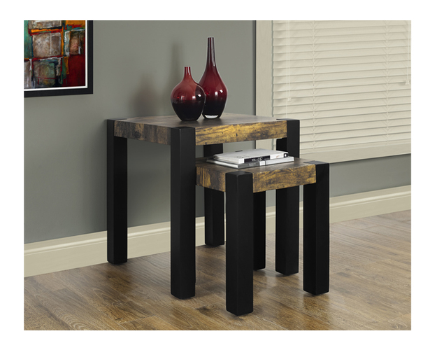 Nesting Table - 2pcs Set / Black / Reclaimed-look Top