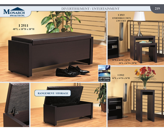 Cappuccino Hollow-core Storage Bench With A Cushion Seat   Pg219
