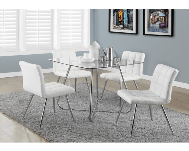 DINING CHAIR - 2PCS / 32H / WHITE LEATHER-LOOK / CHROME