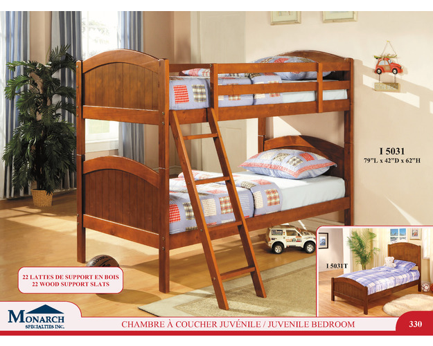 Dark Pine Solid Wood Twin / Twin Bunkbed With Ladder   Pg330 - TWIN BUNKBED