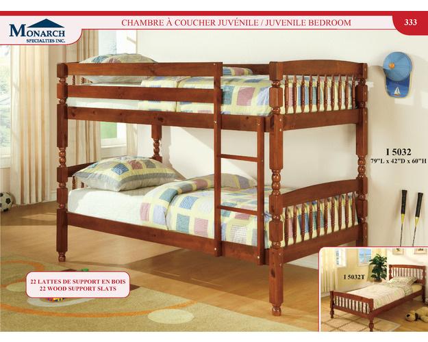 Medium Brown Solid Wood Twin / Twin Bunkbed With Ladder   Pg333