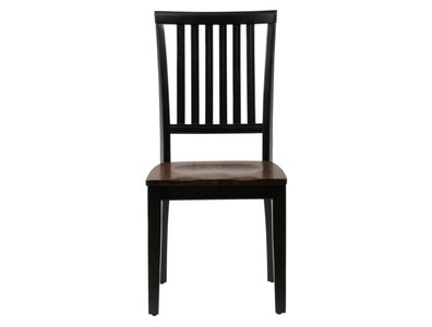 ANTIQUE BLACK/BROWN BIRCH TWO-TONE SLAT BACK CHAIR (2/CTN)