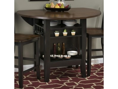 ANTIQUE BLACK/BROWN BIRCH TWO-TONE 48 ROUND DROPLEAF COUNTER HEIGHT TABLE WITH WINE/STORAGE BASE AND OPEN DISPLAY SPACE