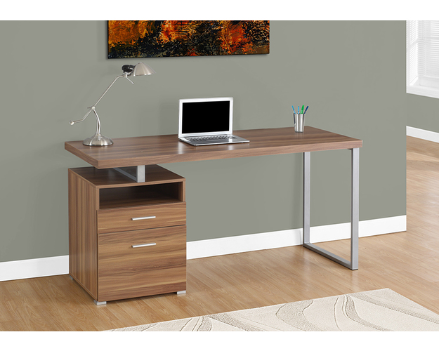 Computer Desk - 60l / Walnut / Silver Metal