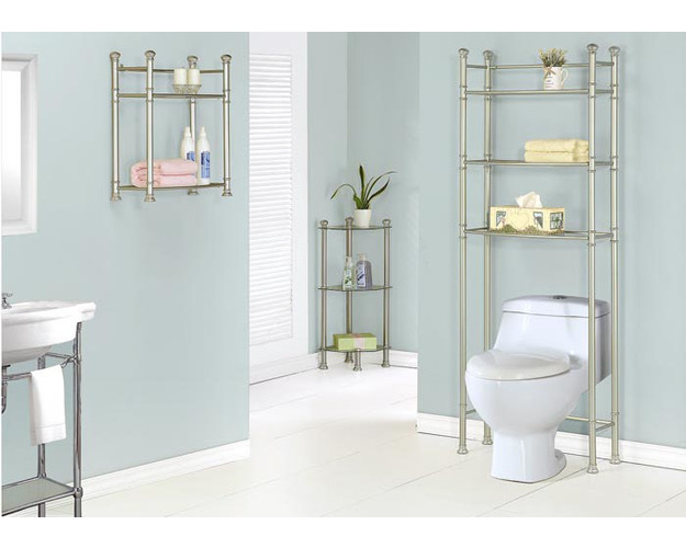 BATHROOM ACCENT - 26H / NICKEL METAL WITH TEMPERED GLASS