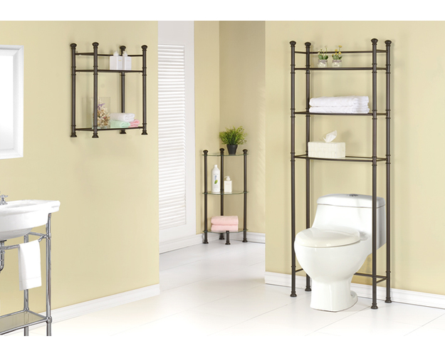 BATHROOM ACCENT - 33H / BRONZE METAL CORNER / GLASS