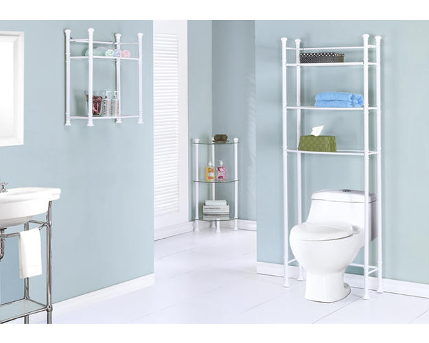 BATHROOM ACCENT - WHITE METAL WITH TEMPERED GLASS