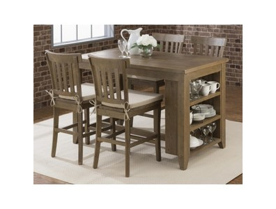 COUNTER HEIGHT DINING TABLE W/3-SHELF STORAGE