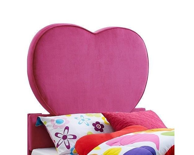 UPHOLSTERED HEART TWIN HEADBOARD - PINK