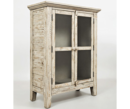 TWO DOOR ACCENT CABINET W/INTERIOR SHELF, GLASS PANEL DOORS