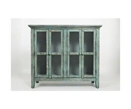 FOUR DOOR ACCENT CABINET W/INTERIOR SHELF, GLASS PANEL DOORS
