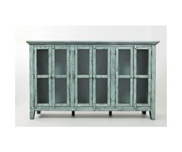 SIX DOOR ACCENT CABINET W/INTERIOR SHELF, GLASS PANEL DOORS