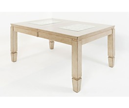 RECTANGLE DINING TABLE W/MIRROR, GLASS INLAY, EXT LEAF