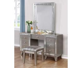 VANITY DESK & STOOL  (METALLIC MERCURY)
