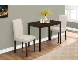 DINING SET - 3PCS SET / CAPPUCCINO / BEIGE LINEN CHAIRS
