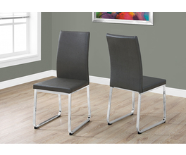 DINING CHAIR - 2PCS / 38H / GREY LEATHER-LOOK / CHROME