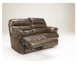 RECLINING LOVESEAT-MOTION LEATHER-DURABLEND - ESPRESSO