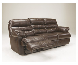 RECLINING SOFA-MOTION LEATHER-DURABLEND - ESPRESSO
